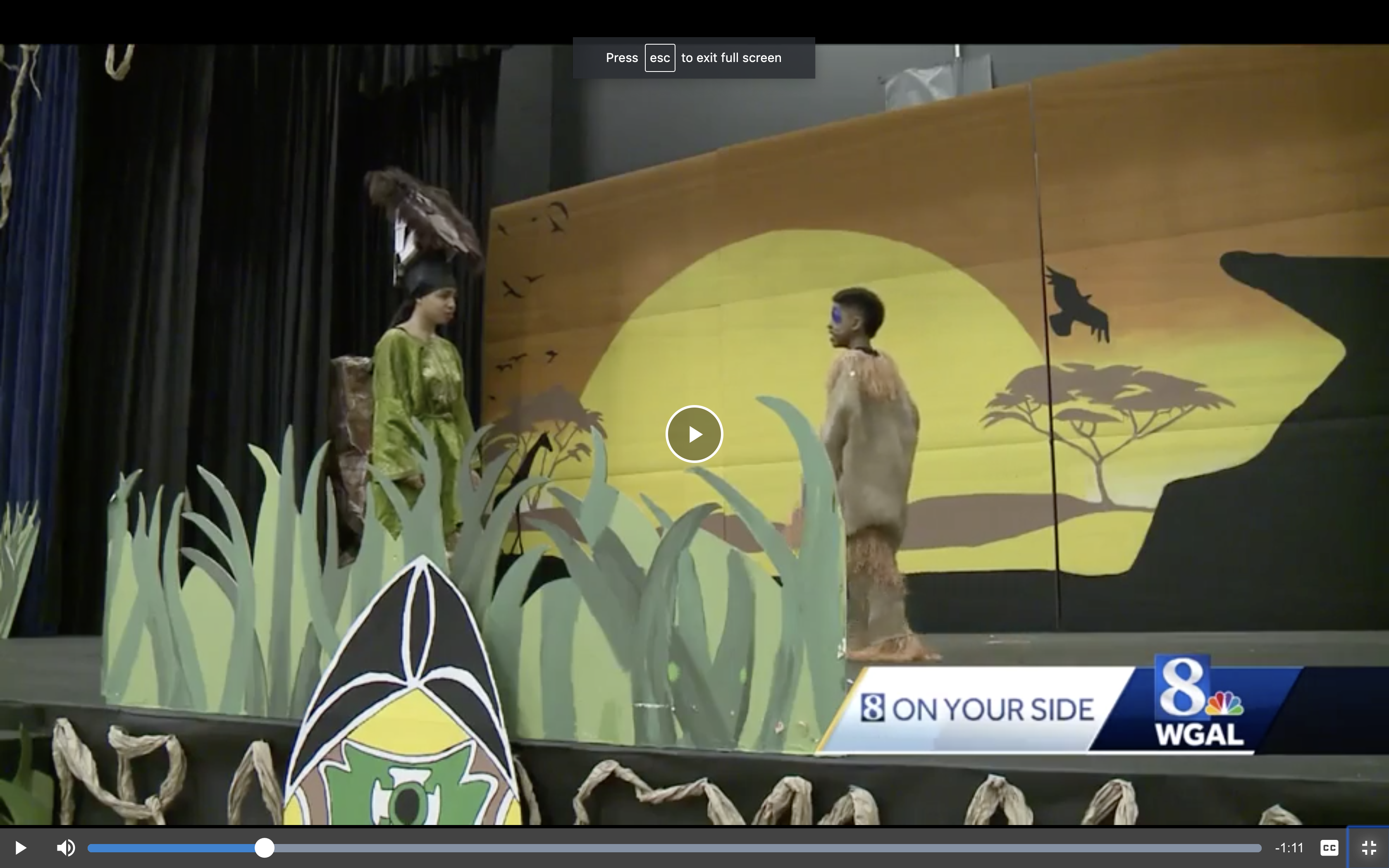 Edward Hand Middle school WGAL8 report on Lion King Jr